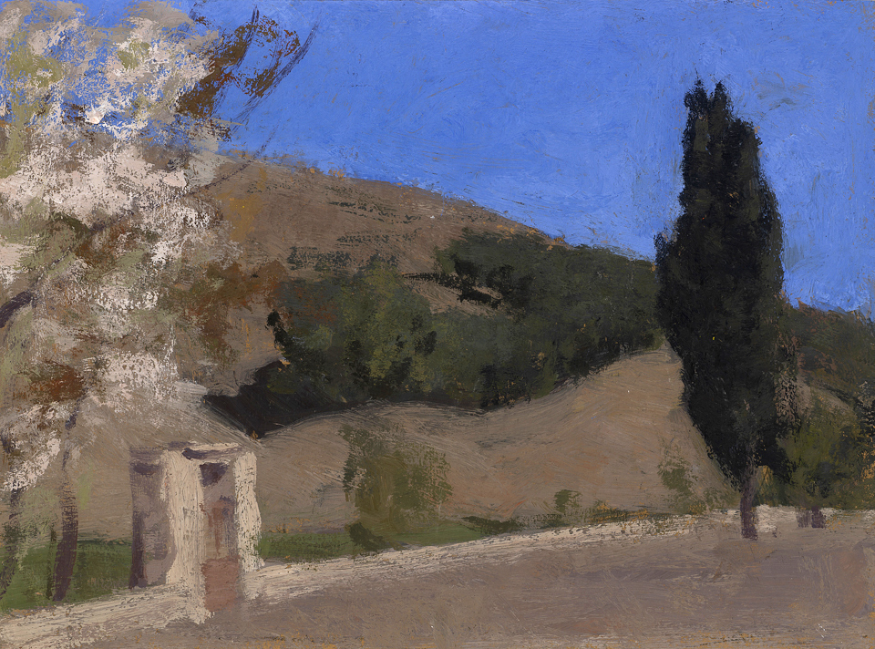 View from Taddert, Casein Tempera on Card, 25 x 34cm
