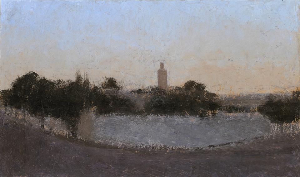 Evening, Meknes, Casein Tempera on Card, 21 x 35cm