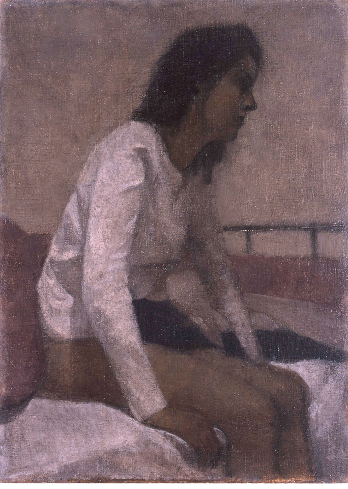 Woman Sitting on a Bed, Oil on Canvas, 43 x 30.5cm