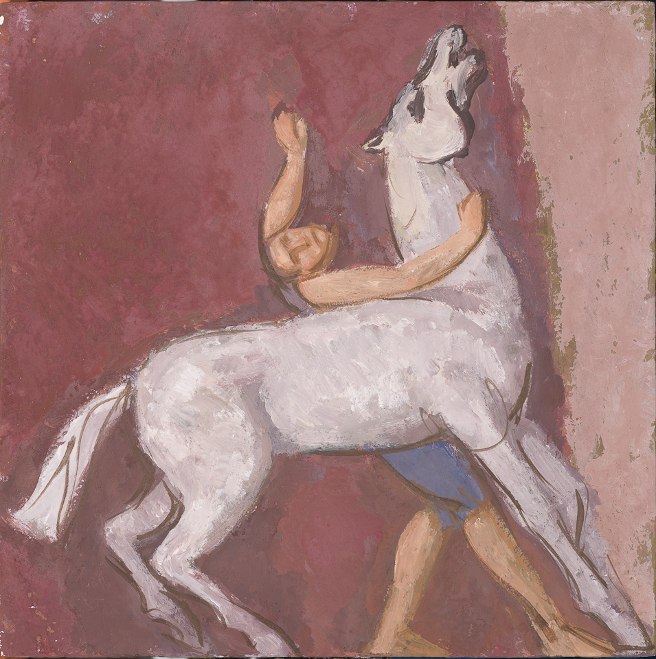 Man Struggling with a Horse, Casein Tempera on Panel, 25.5 x 25.5cm