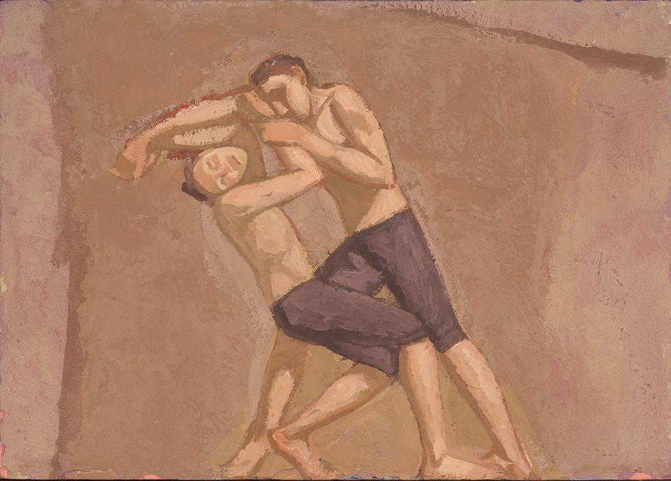 Boys Wrestling, Casein Tempera on Panel, 25.5 x 35.5cm