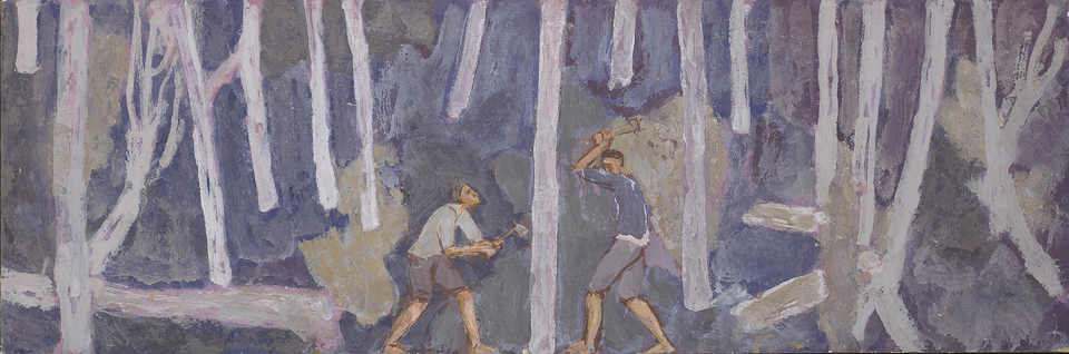 Woodcutters, Casein Tempera on Panel, 30 x 91.5cm