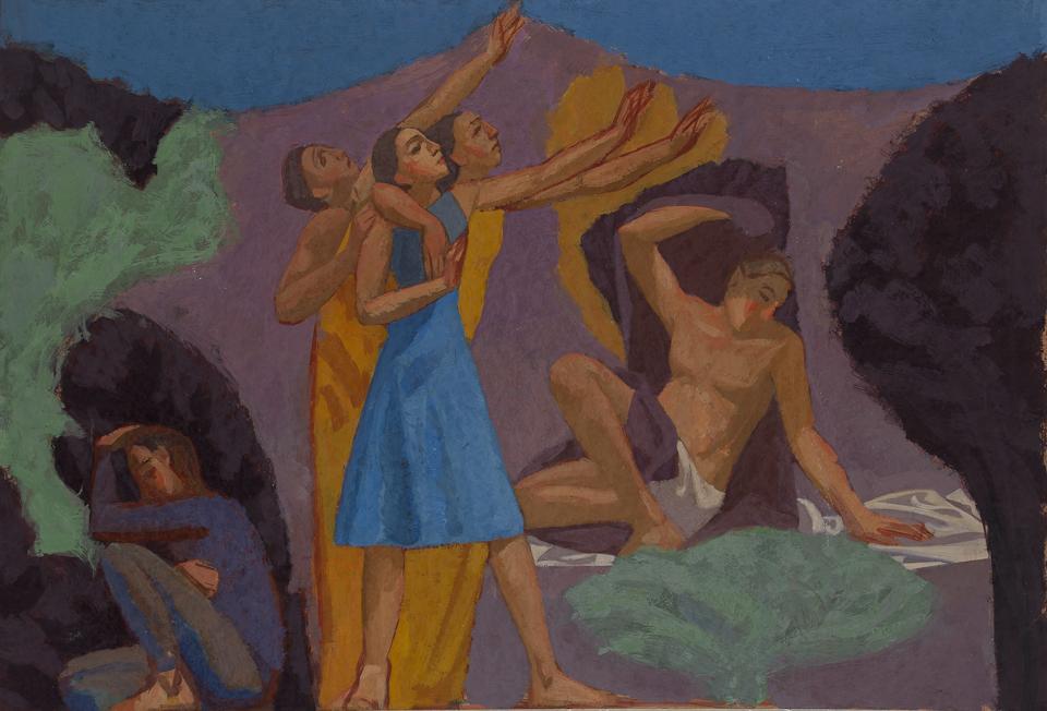 Evening Invocation, Casein Tempera on Card, 39 x 57cm