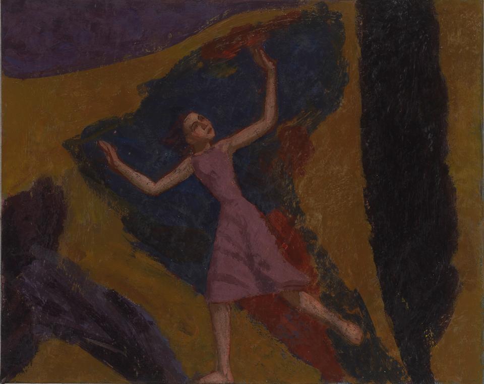 Girl Fleeing a Storm, Casein Tempera on Card, 20 x 25.5cm