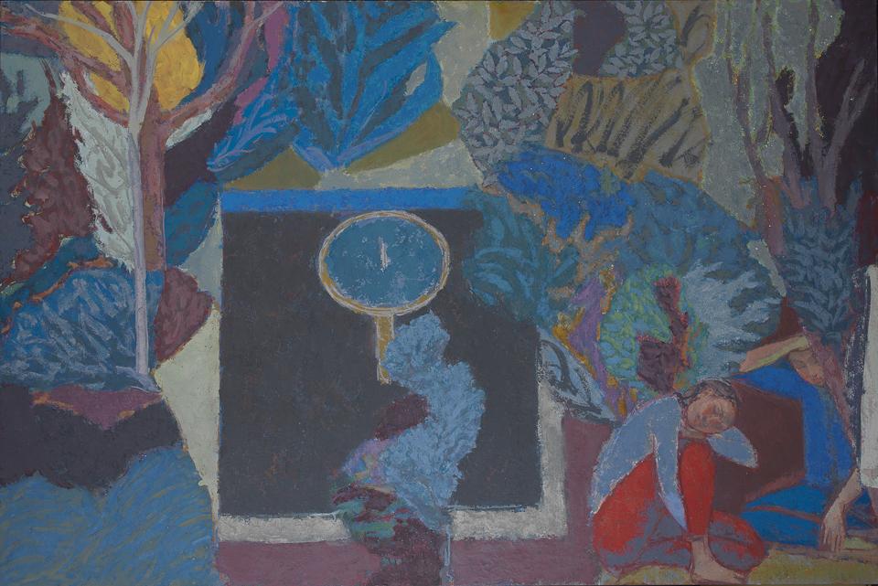 Repose by the Fountain, Casein Tempera on Card, 122 x 183cm