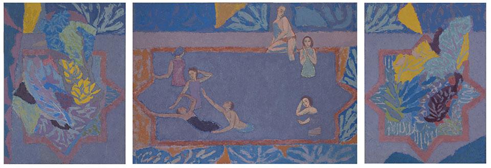 The Pool, Casein Tempera on Panel, 122 x 353cm