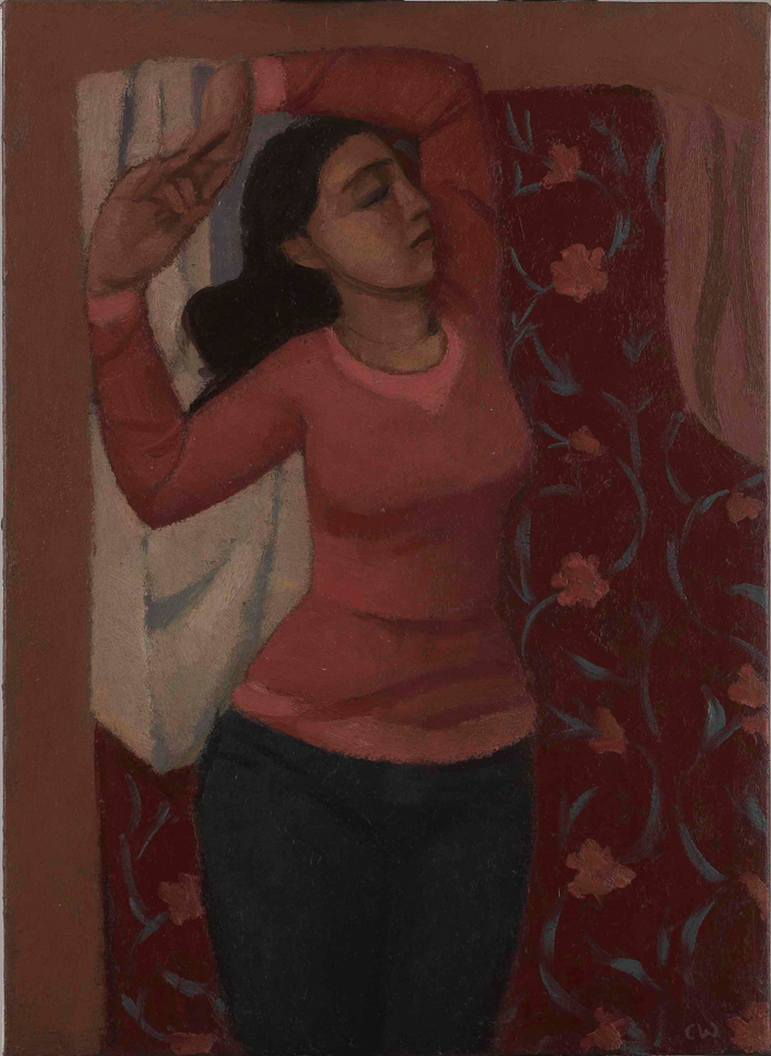 Woman Stretching, Oil on Canvas, 44.5 x 32cm