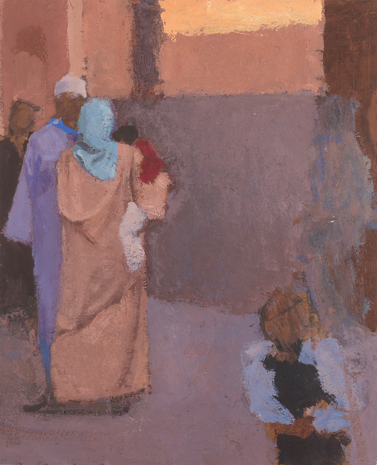 La Rencontre, Casein Tempera on Card, 37.5 x 30.5cm