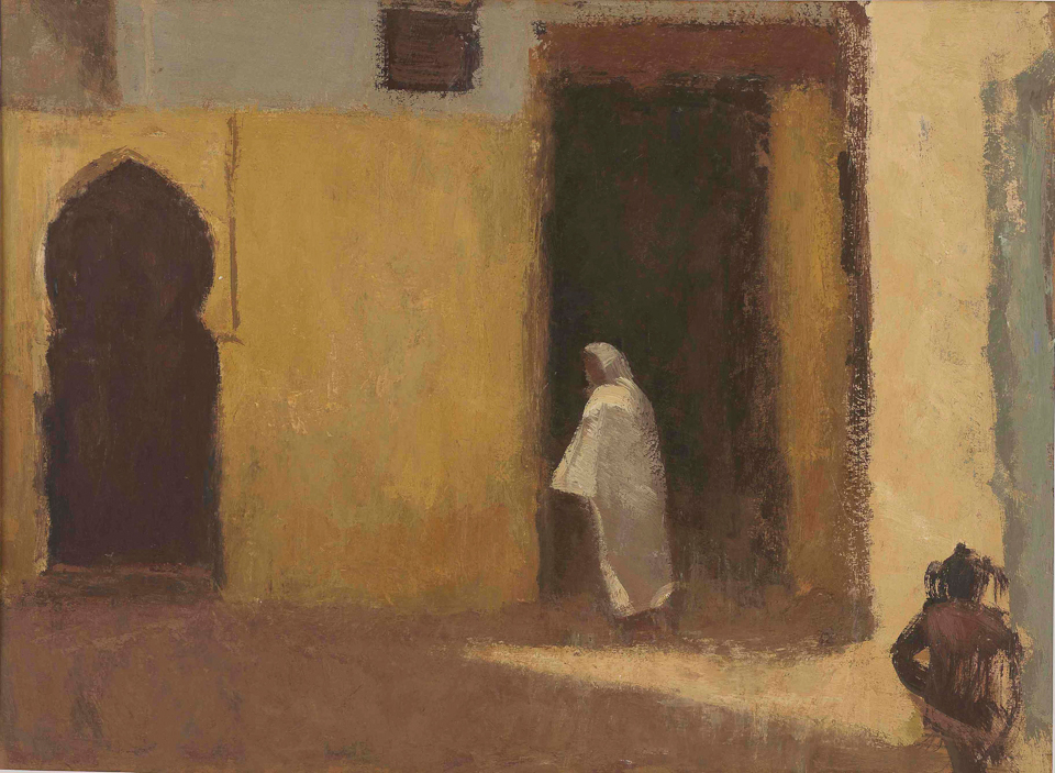 Alley, Fes, Casein Tempera on Card, 34 x 47cm