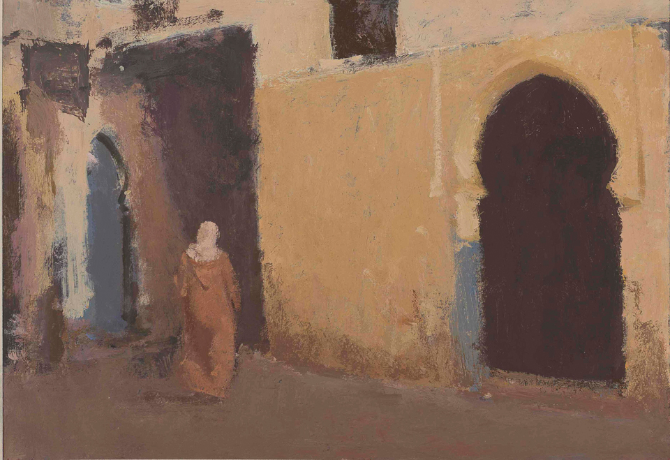 Blue Door, Casein Tempera on Card, 33 x 48cm