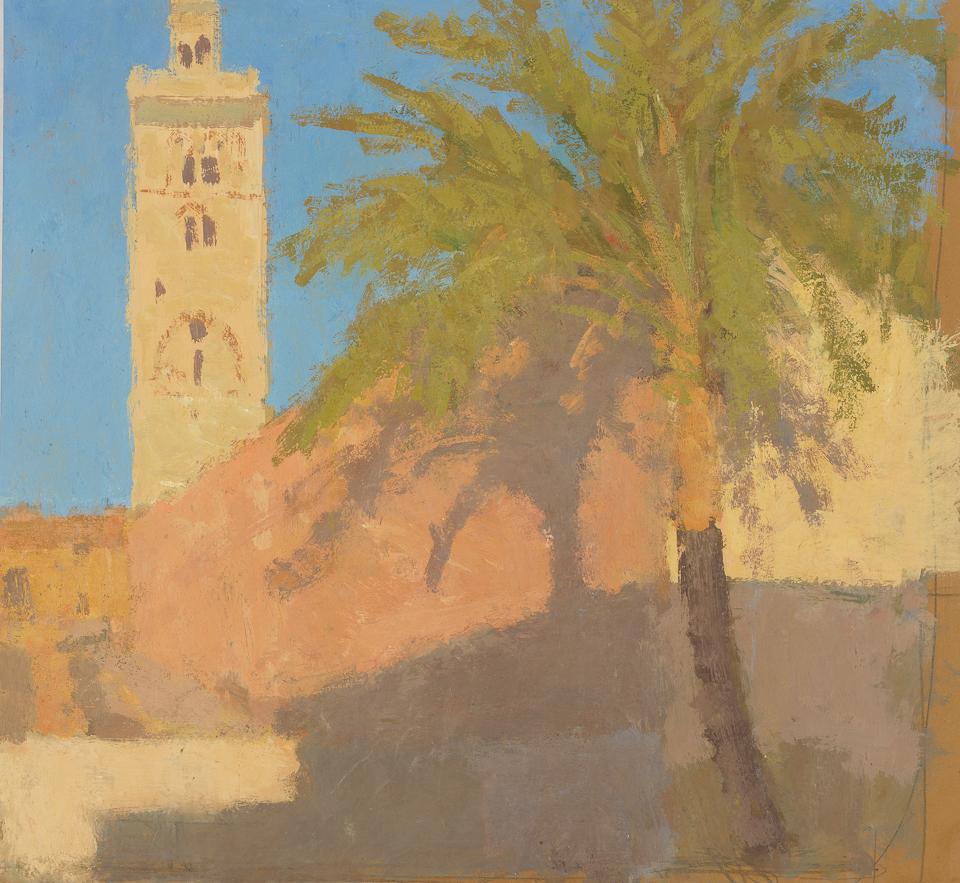 Koutoubia Minaret, Marrakech, Casein Tempera on Card, 37.5 x 40.5cm