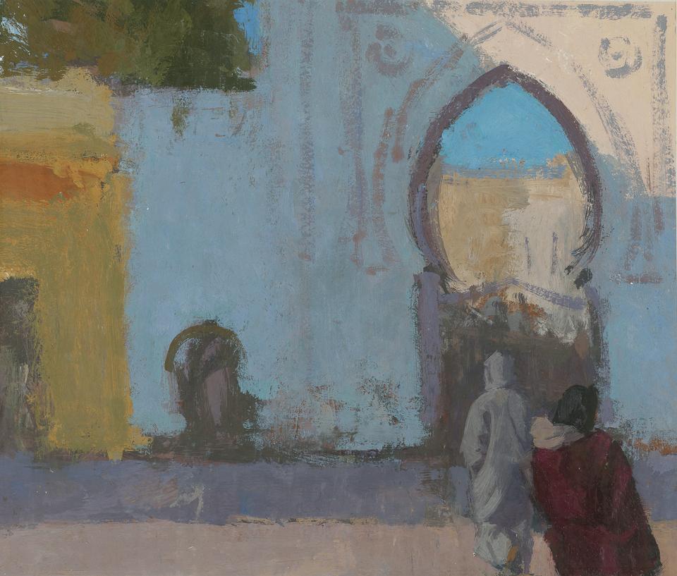 Bab el-Sokko, Tanger, Casein Tempera on Card, 30.5 x 37cm