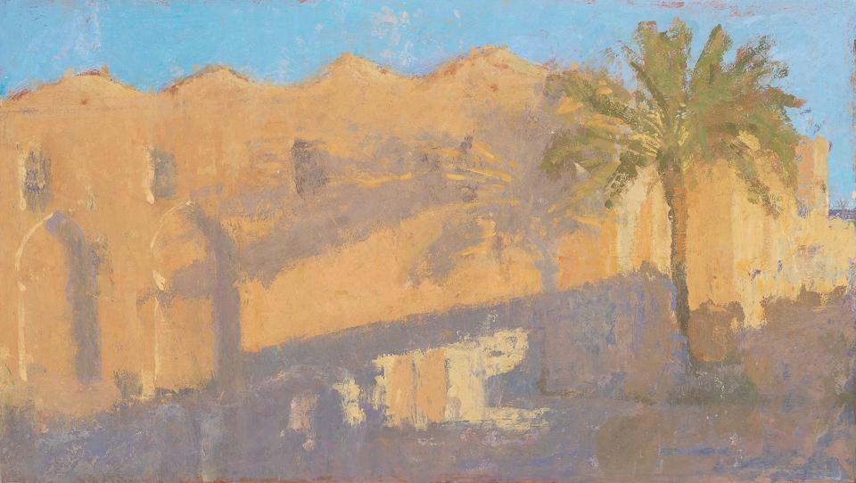 Wall of the Koutoubia, Casein Tempera on Card, 45 x 79.5cm