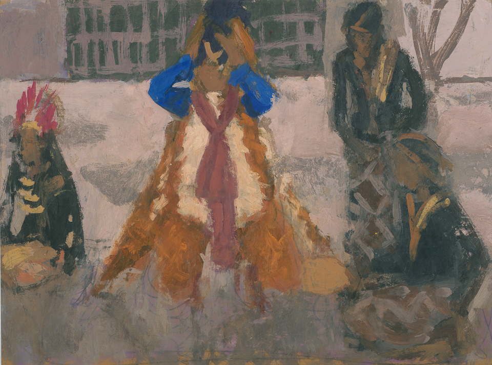 Before the Performance, Jogjakarta, Central Java, Casein Tempera on Card, 37.5 x 50.25cm