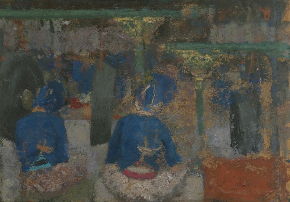 Gamelan Musicians, Kraton, Jogjakarta, Central Java, Casein Tempera on Card, 38.75 x 56cm