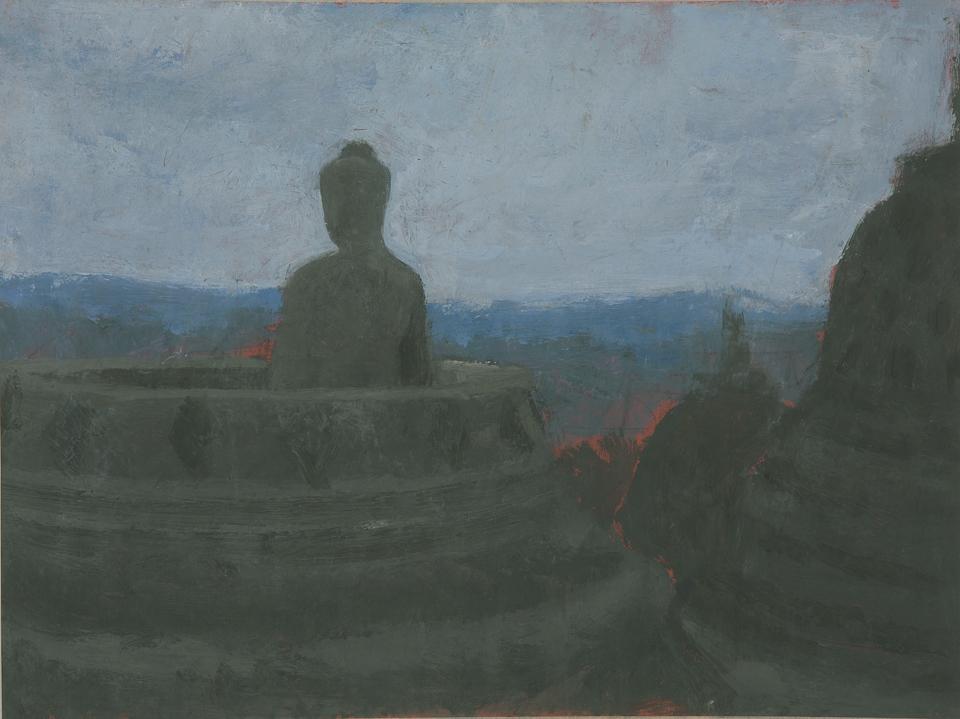 Stupa, Borobadur, Central Java, Casein Tempera on Card, 27.75 x 36.75cm