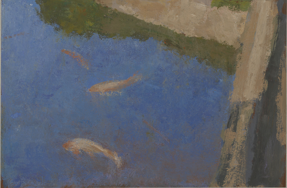 Fish Pond, Imperial Palace, Tokyo, Casein Tempera on Card, 17.75 x 26.5cm