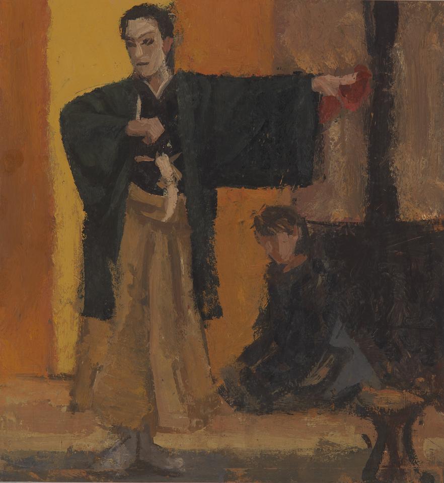 Kabuki Performance, Tokyo, Casein Tempera on Card, 27.25 x .5cm