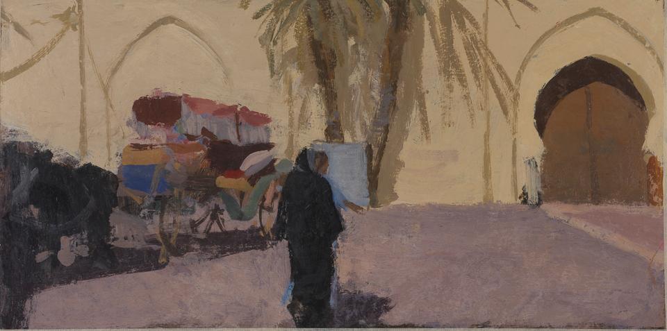 Kasbah Mosque, Marrakech, Casein Tempera on Card, 28 x 56cm