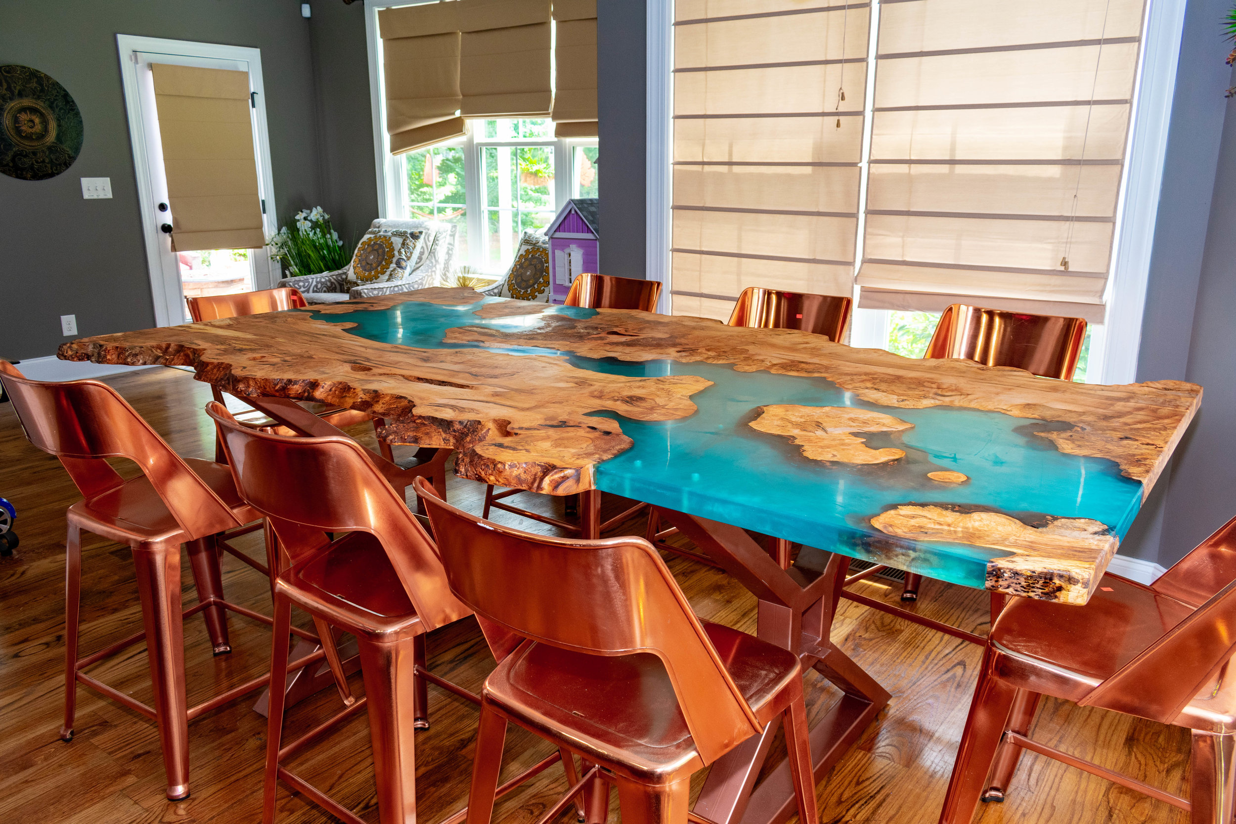 Blue River Table with Copper Colored Metal Legs