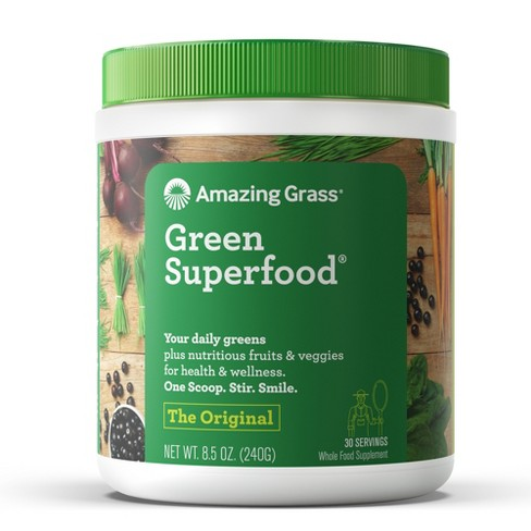 Greens - Contains 3+ servings of fruits, veggies, and greens. It helps to alkalize your stomach (this means balancing your body's pH). It can help digestion, bloating, and more.