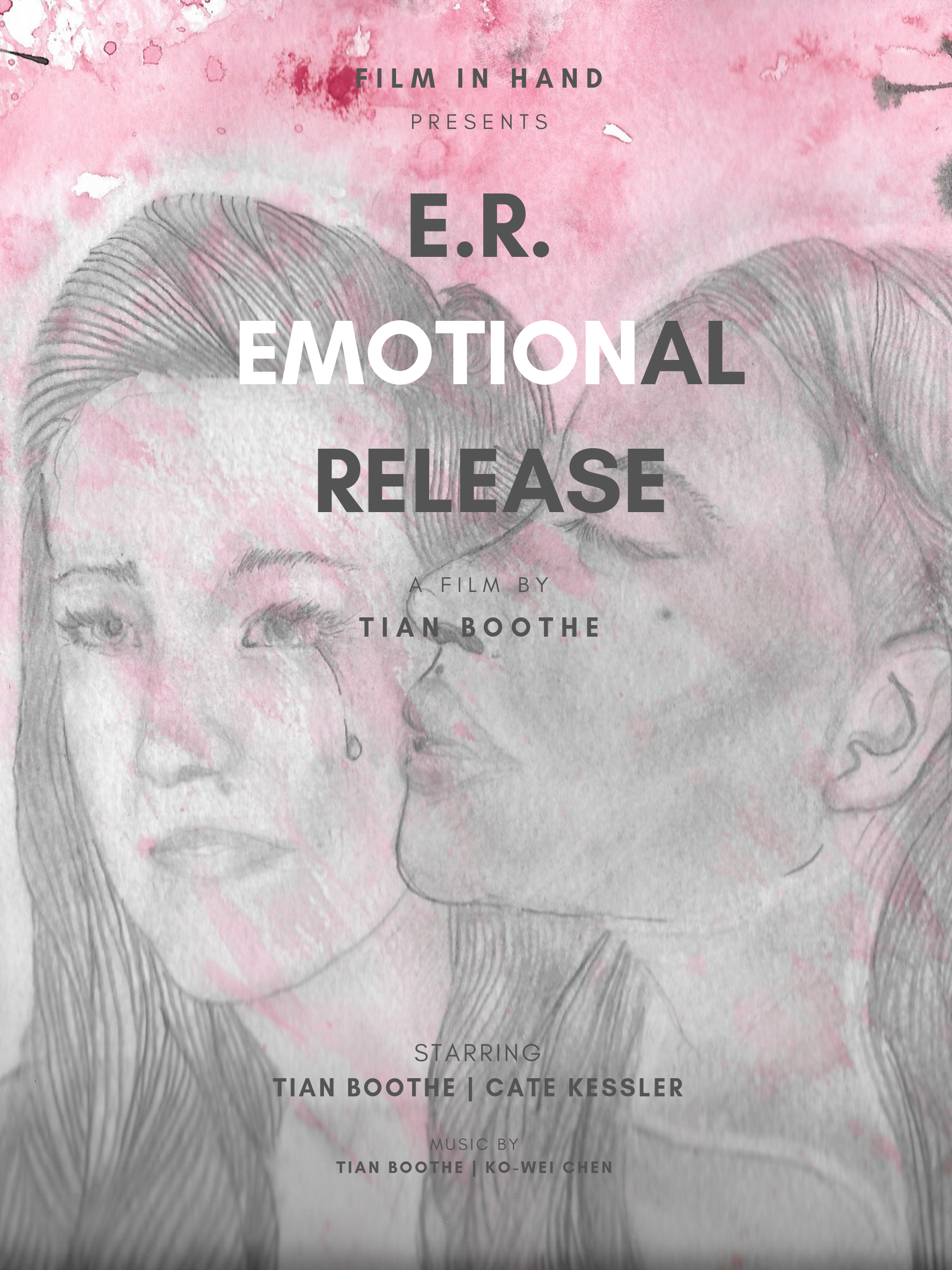 - 2019 © E.R. Emotional ReleaseTian Boothe is the Writer and Filmmaker behind E.R. Emotional Release. Ko-wei Chen is the Orchestrator who works alongside Tian as they compose this narrative music album which explores the romantic side of an emotional catharsis through musical and visual story telling. Cate Kessler is one of the lead Actresses who stars as the love interest the story is based upon.
