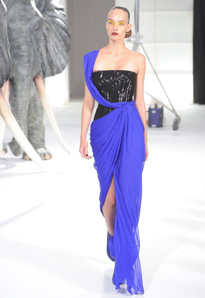 Herringbone Bugle Gown with Chiffon draped skirt