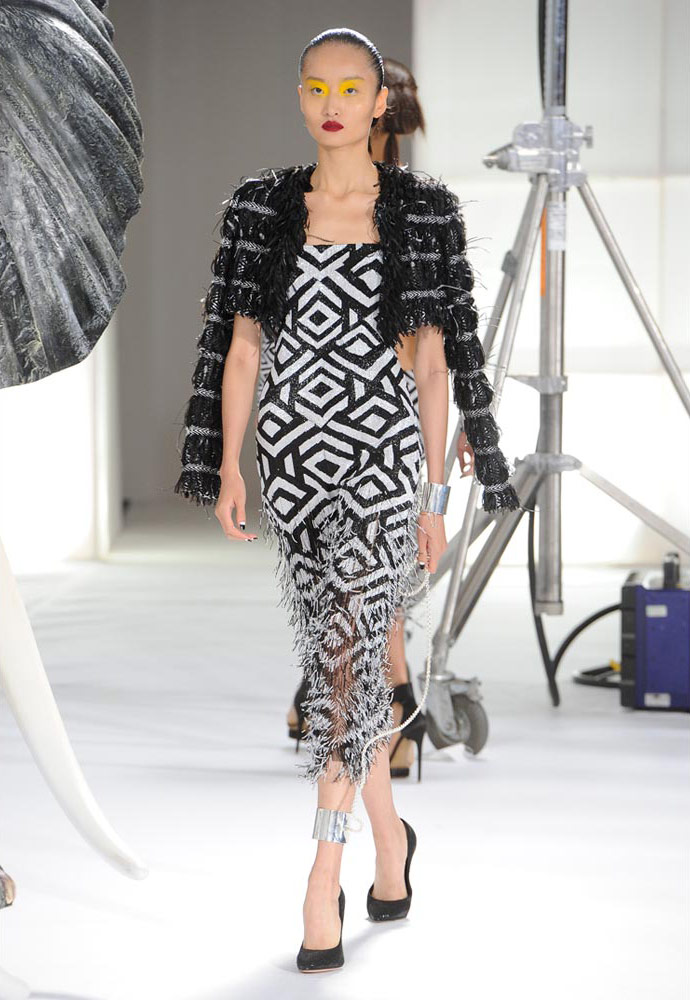 ZULU GRAPHIC SEED BEAD FRINGE JUMPSUIT WITH HAND WOVEN SILK, WOOL AND BOUCLE SHRUG JACKET