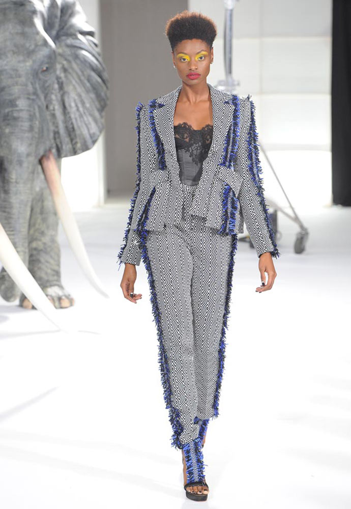 HAND WOVEN TROUSER SUIT WITH FRINGE BRAID AND OVER SIZED POCKET