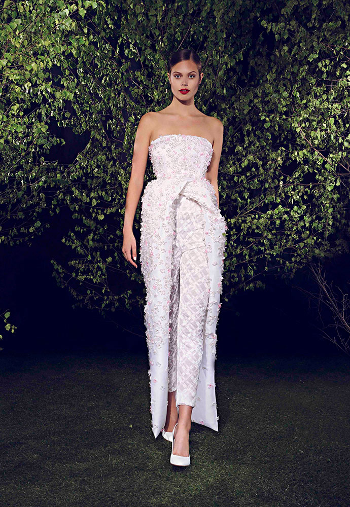 Strapless wrap dress in silk organza with crystals and beading, and white-beaded paint-stroke trousers