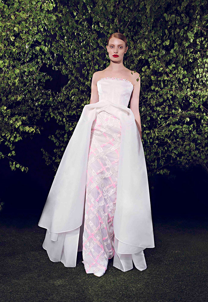 Strapless wrap gown in silk organza with white and pink-beaded paint-stroke skirt