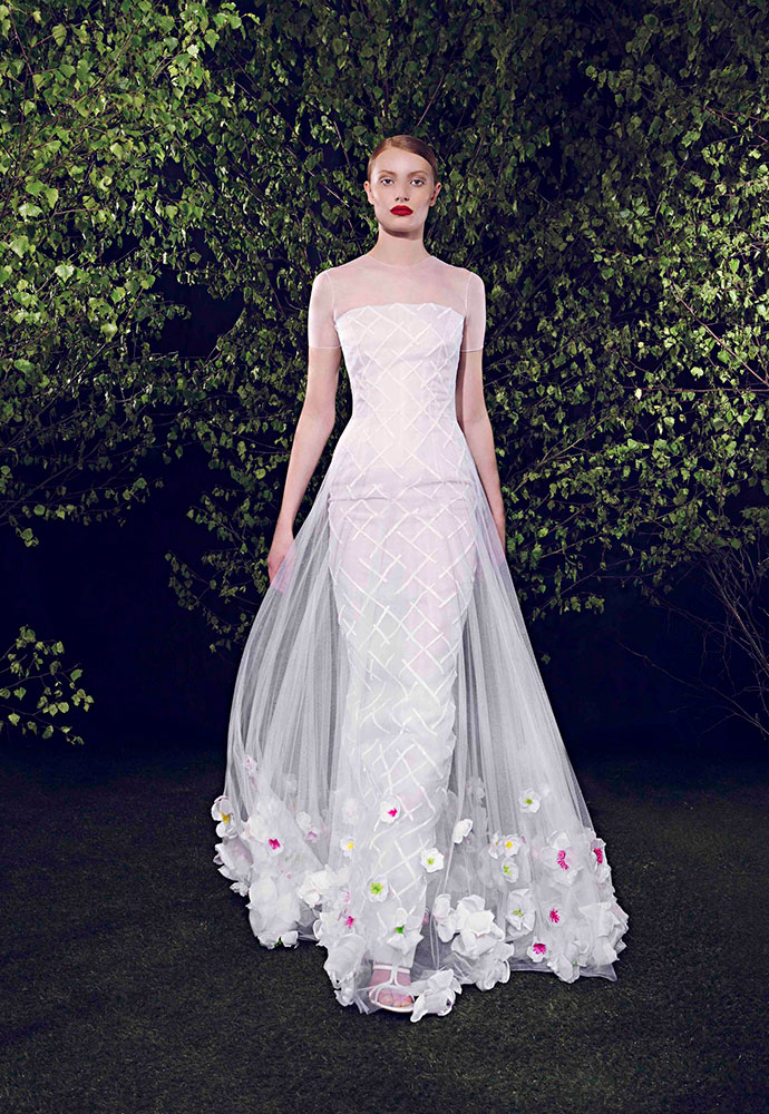 Floral appliqué gown in silk tulle with white-beaded grid under-dress in silk organza