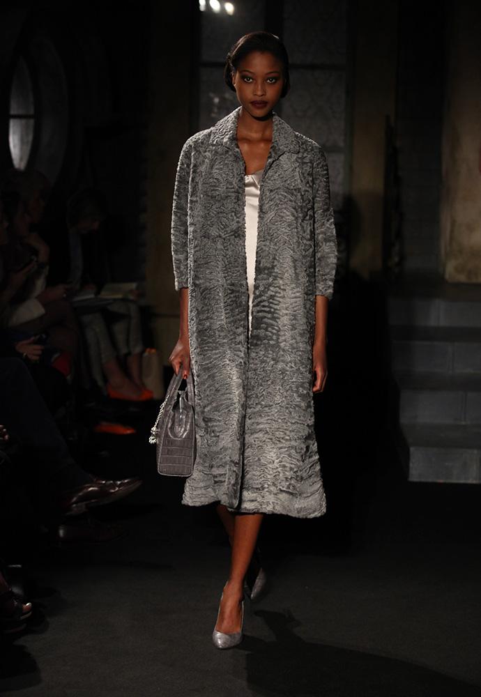 Grey Astrakan coat, satin slip, large grey crocodile bag and grey crocodile shoes