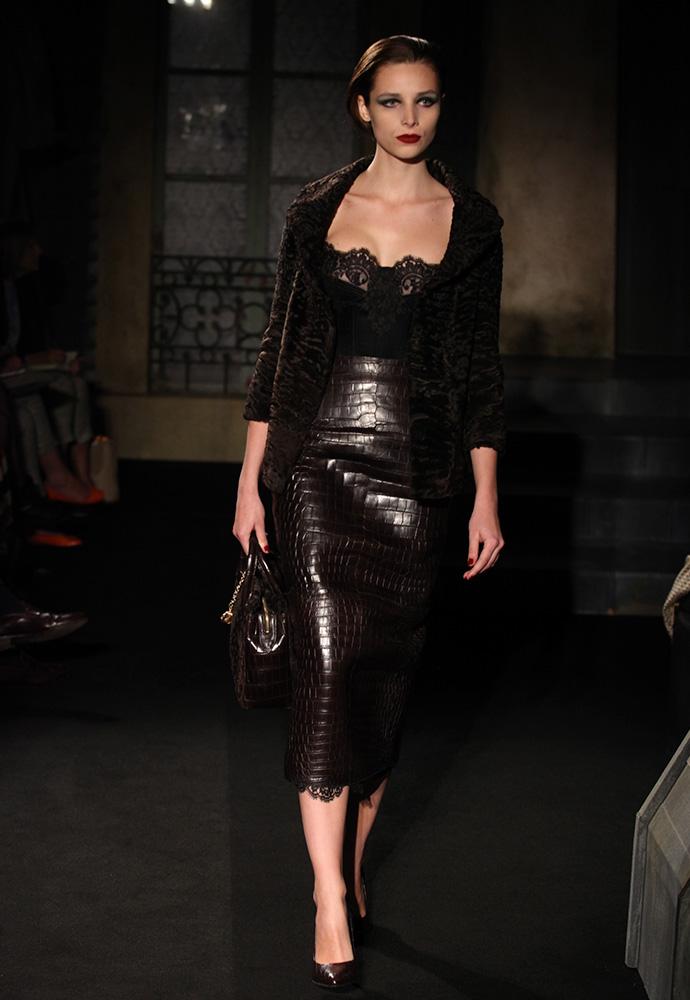 Chocolate Astrakan jacket and crocodile skirt, chocolate Astrakan and crocodile bag and chocolate crocodile shoes
