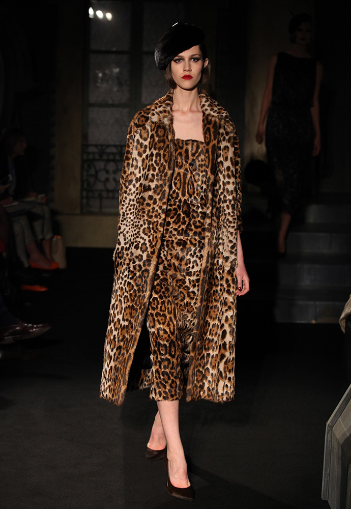 Leopard fur strapless corset dress, printed kid fur dress with matching leopard coat and chocolate ponyskin shoes