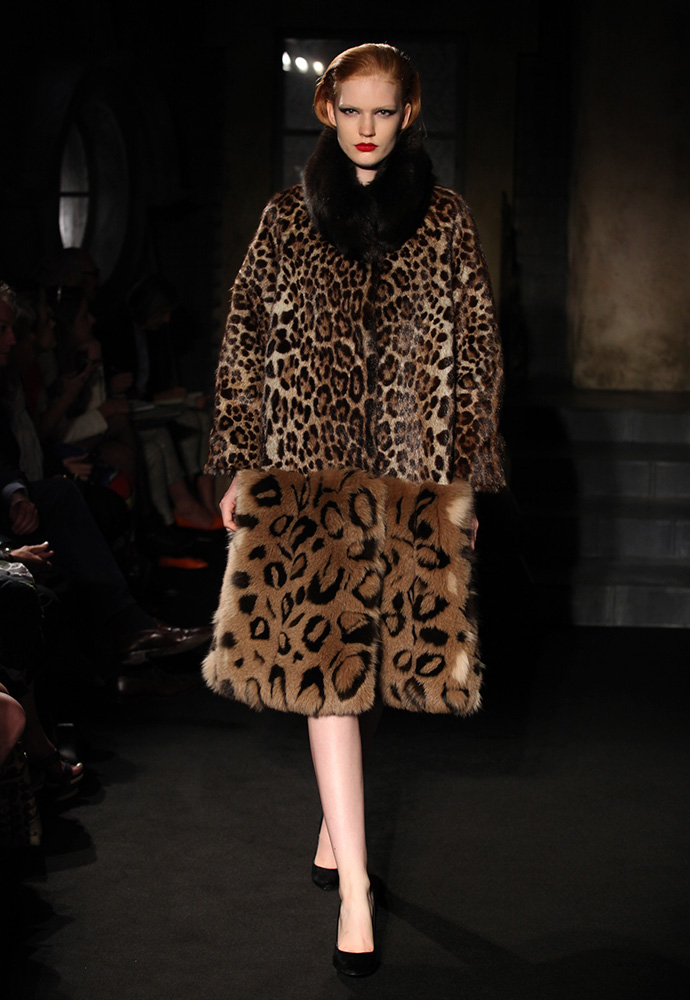 Leopard fur coat, printed kid fur dress with matching leopard coat and chocolate ponyskin shoes