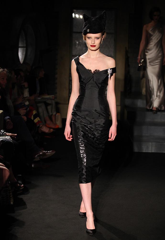 Degradé leopard brocade corset dress, black 'panther' hat and black satin shoes