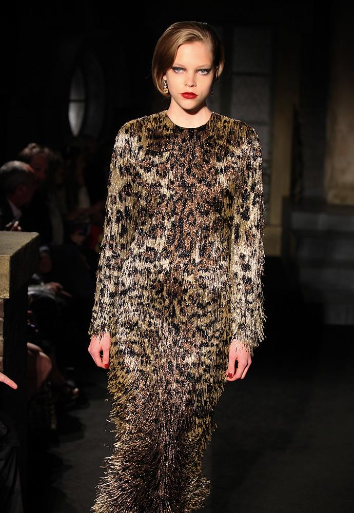 Leopard fringe dress, copper lizard shoes