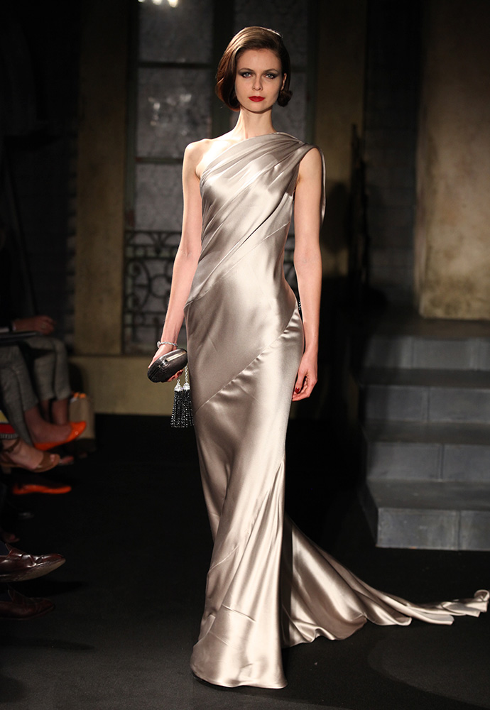Spiral cut satin tassel dress, with silver & hematite long tassels and grey python shoes