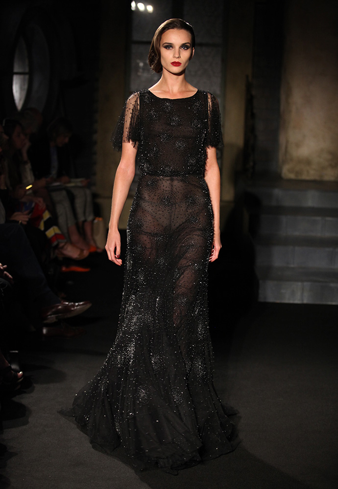 """""""Night sky dress"""" beaded silk tulle dress with black satin shoes"""