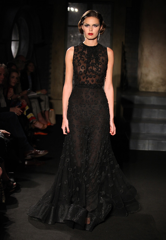 Sequinned leopard gown in silk tulle, black satin shoes