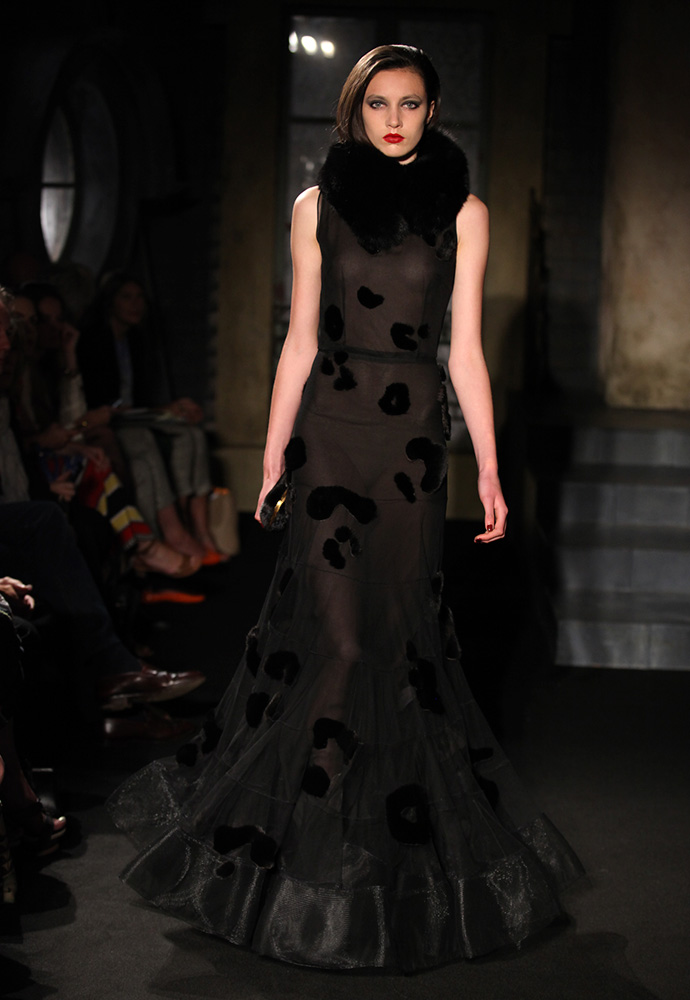 Mink and silk tulle gown with fox collar, black mink clutch and black satin shoes
