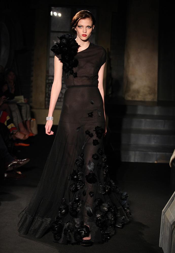 Feather flower tulle gown, black velvet shoes