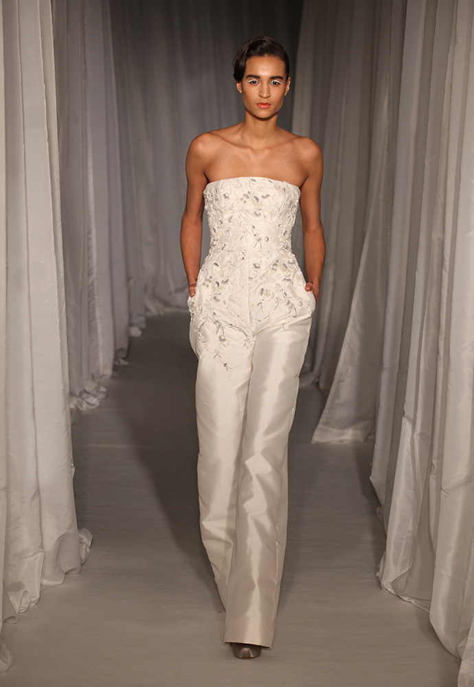 White strapless jumpsuit in zibeline with jasmine embroidery and beading