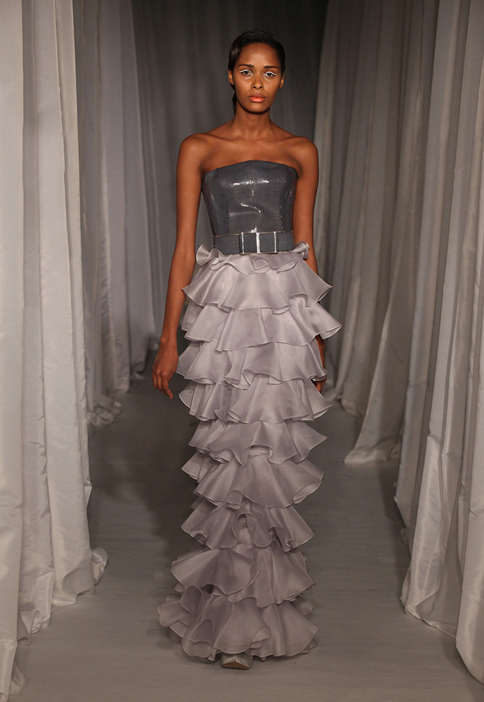 Navy shagreen bodice with dove grey satin organza flounce skirt with shagreen and silver bow belt