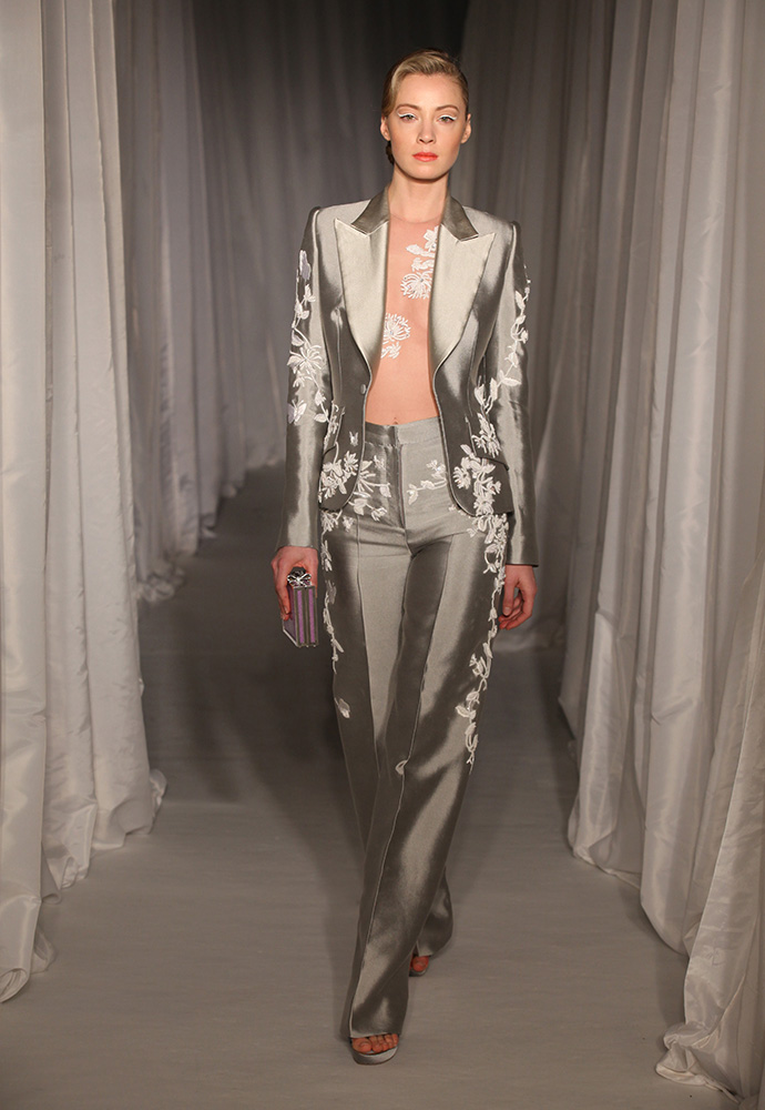 Silver tuxedo trouser suit with white embroidered and beaded honeysuckle with a nude silk tulle embroidered and beaded body