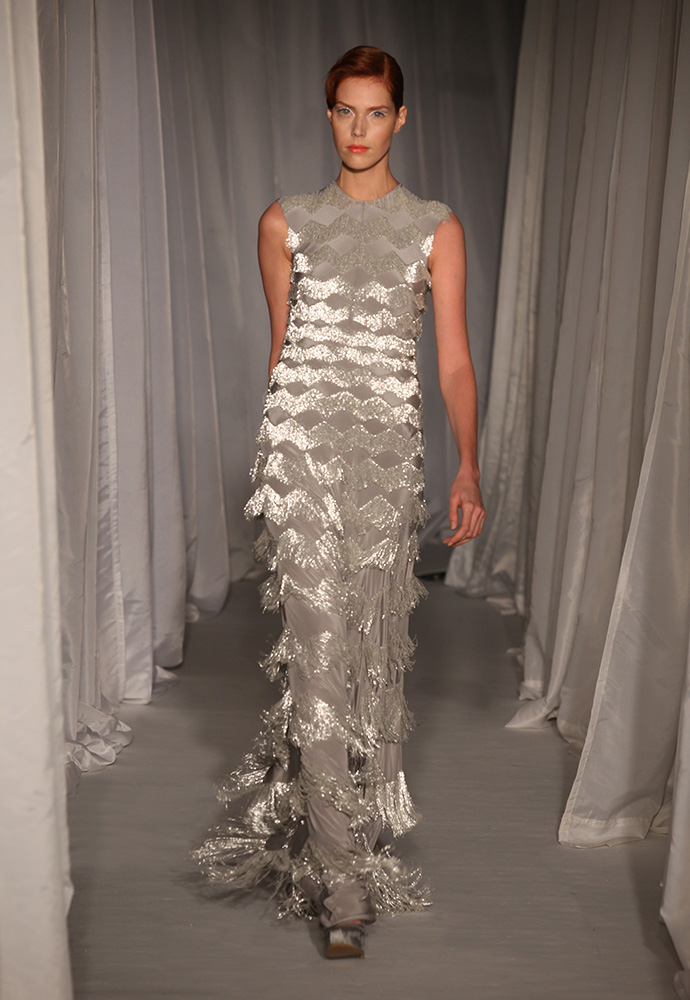 Silver crêpe de chine beaded fringe column gown