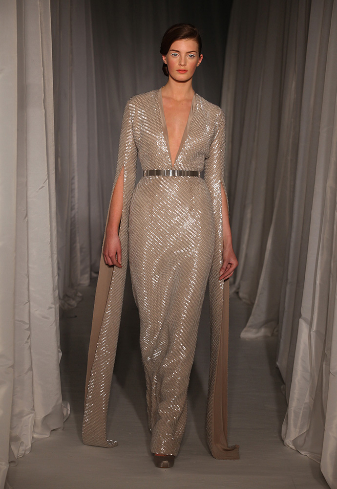Nude crêpe de chine beaded long sleeve gown with slim silver hexagon belt