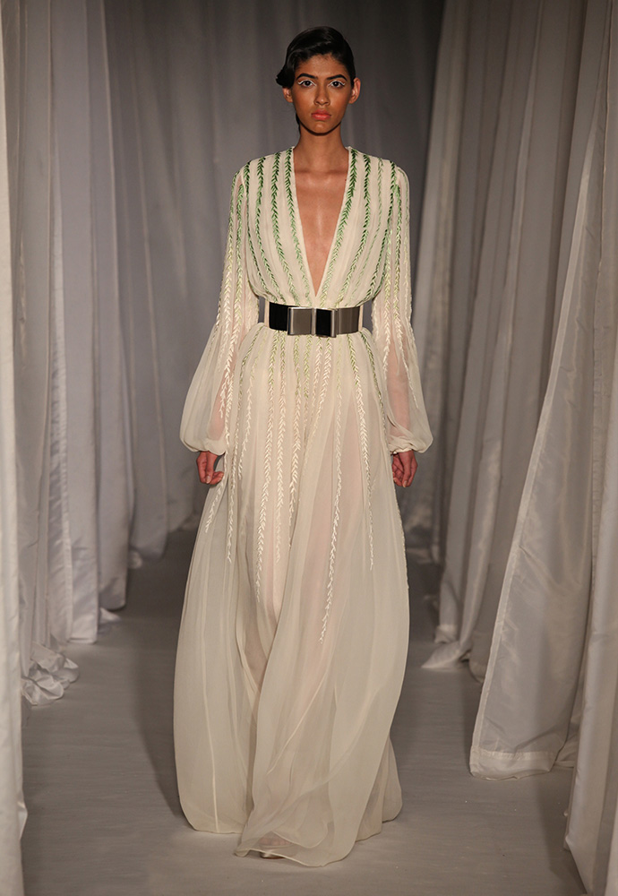 Ivory pleated gown in chiffon with willow silk embroidery with wide silver bow belt