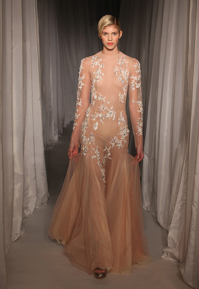 Nude silk tulle gown with jasmine embroidery and beading